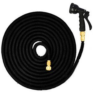 Eyepower Tuyau pour Arroser élastique Magic Hose Extensible 3 Fois sa Longueur de 7,5m à 22,5m + Pistolet d'Arrosage connecteurs en Laiton Noir