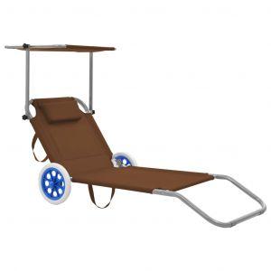 VidaXL Chaise longue pliable avec auvent et roues Acier Taupe