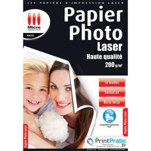 Micro application 5349 - 50 feuilles de papier photo Laser 200g/m² (A4)