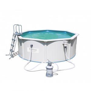 Bestway Kit Piscine ronde Steel Wall Pool 360x120cm - Kit Piscine ronde - Volume d'eau 90% 10990L - Diamètre : 360cm - Hauteur : 120cm - Coloris : gris.