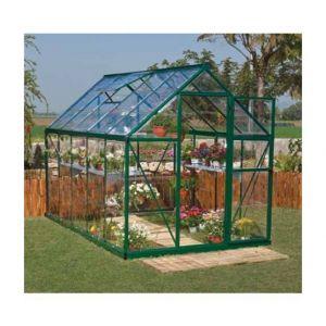 Palram Serre de jardin en polycarbonate Harmony 5,66 m², Couleur Argent, Ancrage au sol Non - longueur : 3m06