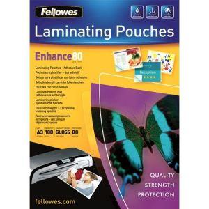 Fellowes 100 pochettes adhésives Peel Stick avec 160 microns (A3)