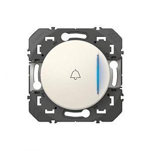 Legrand LEG95209 POUS LUM SYMB BLC Compo Poussoir simple avec voyant lumineux et marquage sonnette dooxie 6A 250V~ finition blanc - emballage blister,