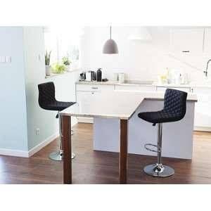 Beliani Lot de 2 chaises de bar réglable en tissu noir Orlando