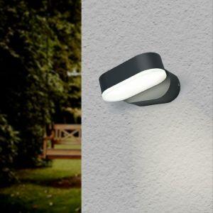Silamp Applique Murale Noire LED 6W IP54 Orientable Ovale