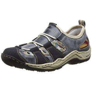 Rieker L0561, Sneakers Basses Femme, Bleu (Navy/Atlantic/kornblume/Beige), 36 EU