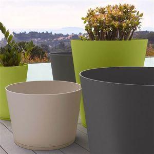 Grosfillex Pot de fleur design Tokyo 30 Diam.30 H.43 - Vert - Extérieur - Soucoupe amovible intégrée