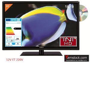 Antarion Téléviseur LED 61 cm + DVD 12V /220V camping car
