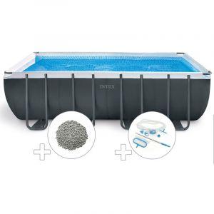 Intex Kit piscine tubulaire Ultra XTR Frame rectangulaire 5,49 x 2,74 x 1,32 m + 20 kg de zéolite + Kit d'entretien