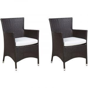 Beliani Lot de 2 chaises en rotin marron foncé ITALY