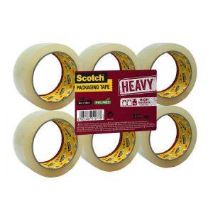 Scotch HV5066FT - Lot de 6 rubans adhésifs d'emballage Heavy, transparent, 50mm x 66m, ép. 56µ (BP976)