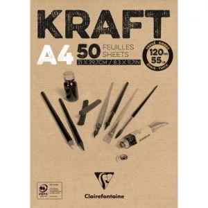 Clairefontaine 975815C - Un Bloc de KRAFT BRUN VERGE 21X29,7 cm 50 feuilles 120g