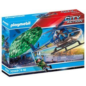 Playmobil Hélicoptère de police et parachutiste City Action 70569