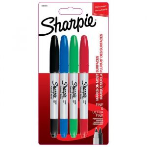 Sharpie Lot de 4 marqueurs permanents - Pointe double - Assortiment de couleurs standards