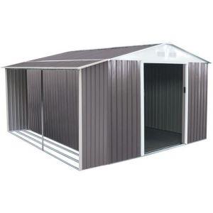 Habitat et Jardin Abri de jardin métal Dallas 8,84 m² avec abri bûche