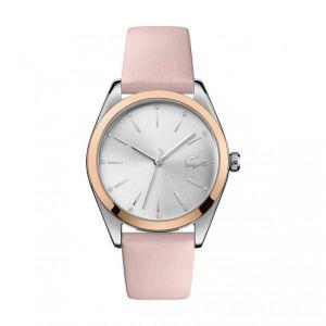 Lacoste Montre 2001098 - boitier acier 2 tons rond cadran argenté bracelet cuir rose Femme