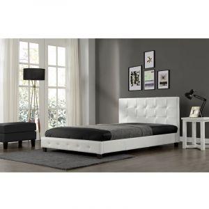 Concept-Usine NOTTING HILL - Cadre de lit en simili capitonné Blanc - 140x190cm