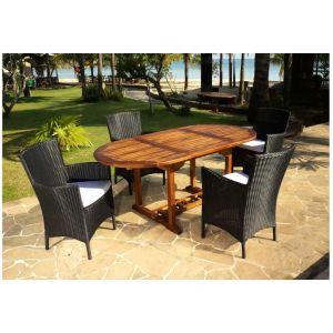 Hévéa Lorny/Bergamo - Table de jardin ronde 120 cm et 6 fauteuils ...
