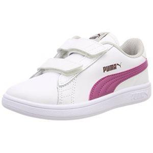 Puma Smash V2 L V PS, Sneakers Basses Mixte Enfant, Blanc White-Magenta Haze-Fig-Gray Violet 08, 33 EU