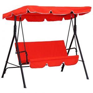 Outsunny Balancelle de jardin 3 places toit imperméabilisé inclinaison réglable coussins assise et dossier 1,72L x 1,1l x 1,52H m acier noir polyester rouge