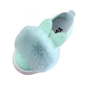 QinMM Chaussures de Bébé Fille Sneaker Furball Bowknot, Ballerines Blanc s Oreilles de Lapin Premiers Princesse Soirée Doux Sweet Mode Anti Dérapante Premiers 6 Mois 6 Ans