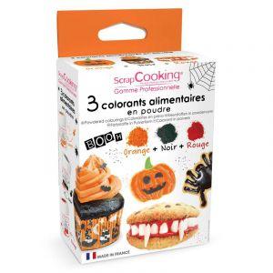Scrapcooking Colorant alimentaire artificiel en poudre - Halloween - 3 x 5g - Orange Noir Rouge