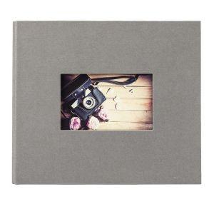 Panodia Album photo traditionnel STUDIO - 60 pages noires - 120 photos - Couverture Grise 27,5x23,2cm + fenêtre