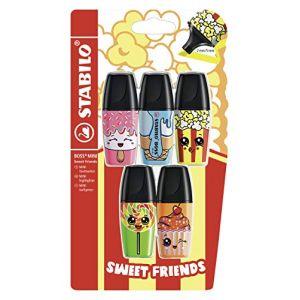 Stabilo Surligneur BOSS MINI Sweet Friends- pack x 5 surligneurs- coloris assortis