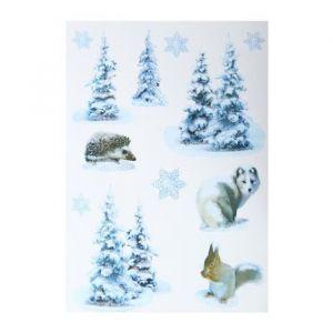 Sticker sapin avec animaux (29,5 x 40 cm)