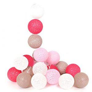 The home deco factory Guirlande lumineuse boules colorées 20 LED 3,45 m Blanc. Gris. Rose. Fuschia