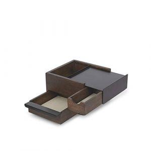 Umbra Mini stowit wallnut Coffret à bijoux Rangement moderne pour objets et souvenirs avec tiroirs à compartiments cachés pour bagues, bracelets, montres, colliers, boucles d'oreilles et accessoires