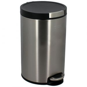 Ogo Living Poubelle 12 L cylindrique - inox brossé - Poubelle de cuisine, Compacteur
