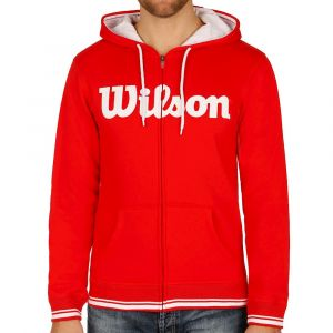 Wilson Homme Sweat-Shirt à Capuche, M TEAM SCRIPT FZ HOODY, Coton, Polyester, Rouge Red)/Blanc, Taille XL, WRA765904