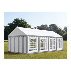Intent24 Tente de réception 4 x 8 m PVC anti-feu gris-blanc