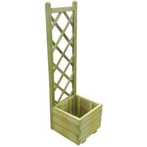 VidaXL Jardinière avec treillis en bois imprégné 40 x 40 x 135 cm -
