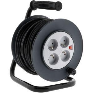 Zenitech Enrouleur HO5VV-F 4 prises 3G1,5 15m + coupe-circuit