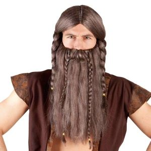 Perruque viking avec barbe