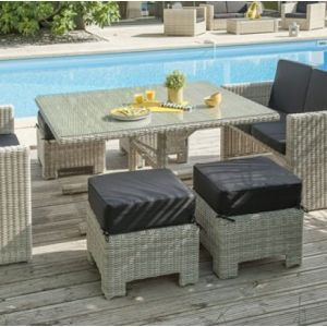 Garden Park Salon jardin Oceane lunch blanc 1 table, 2 banquettes, 4 poufs