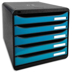 Exacompta 3097282D - BIG-BOX PLUS, coloris noir/bleu turquoise brillant
