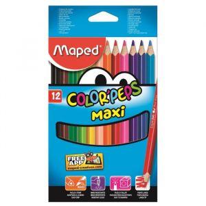 Maped 12 Crayons de couleur Color'Peps assortis
