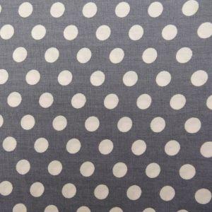 Craftine Tissu Coton Gris pierre Pois Blanc