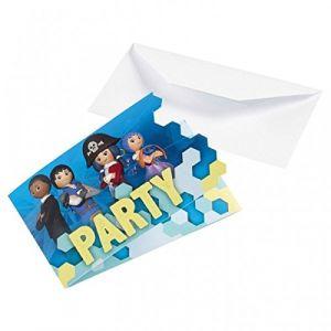Amscan 8 cartes d'invitation Playmobil Super 4