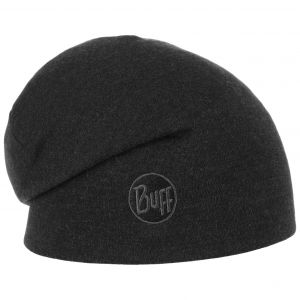Buff Heavy Merino Wool Hat Solid Black One Size Bonnets