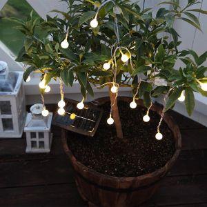 Guirlande LED solaire Globini, blanc chaud
