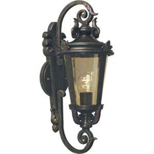 Elstead Applique extérieure Baltimore moyenne en bronze et verre ambre