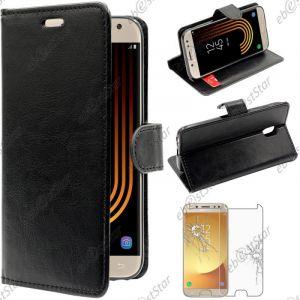EbestStar Etui Samsung Galaxy J5 2017 SM-J530F - Housse Coque Etui Portefeuille Support PU Cuir + Film protection écran en VERRE Trempé, Couleur Noir [Dimensions PRECISES de votre appareil : 146.2 x 71.3 x 7.9 mm, écran 5.2''] [Note Importante Lire Desc