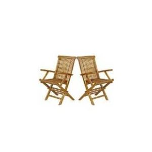 2 fauteuils de jardin pliants en teck huilé