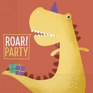 20 Serviettes en papier dinosaure party 33 x 33 cm Taille Unique