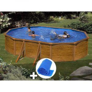 Gre Kit piscine acier aspect bois Sicilia ovale 5,27 x 3,27 x 1,22 m + Bâche à bulles