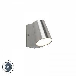 Qazqa Lampe extérieure moderne en aluminium avec capteur crépusculaire incl. LED - Uma